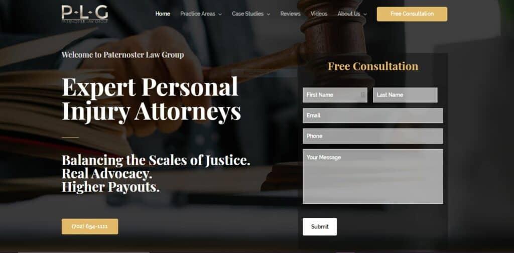 Paternoster Law Website Design Example